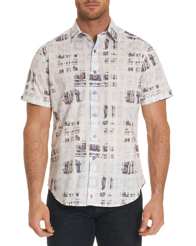 Vega Mosaic Tiled Short-Sleeve Sport Shirt