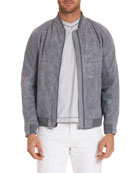 Ricardo Perforated Suede Bomber Jacket
