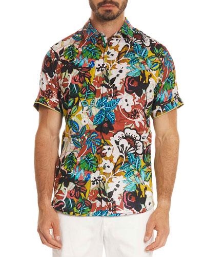 Havana Floral Short-Sleeve Sport Shirt