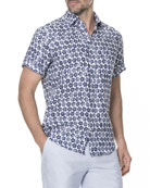 Men's Keyburn Floral-Print Linen Short-Sleeve Sport Shirt