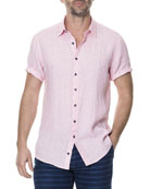 Men's Landmark Dotted Linen-Blend Sport Shirt