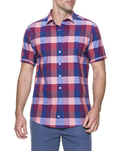 Knighton Short-Sleeve Plaid Sport Shirt