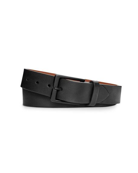 Shinola Men's Lightning Bolt Keeper Leather Belt, Black