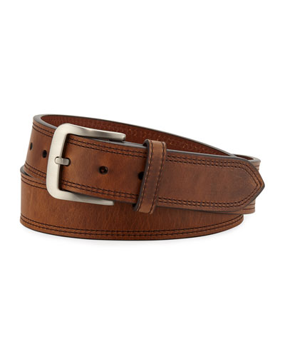 Men's Navigator Double Stitch Leather Belt