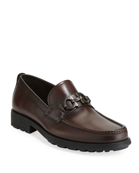 Salvatore Ferragamo Men's David Leather Lug-Sole Loafer