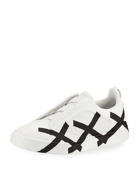 Ermenegildo Zegna Men's Graffiti Triple-Stitch Slip-On Sneakers