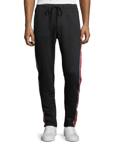 Cotton Track Pants with Logo Taping, Black