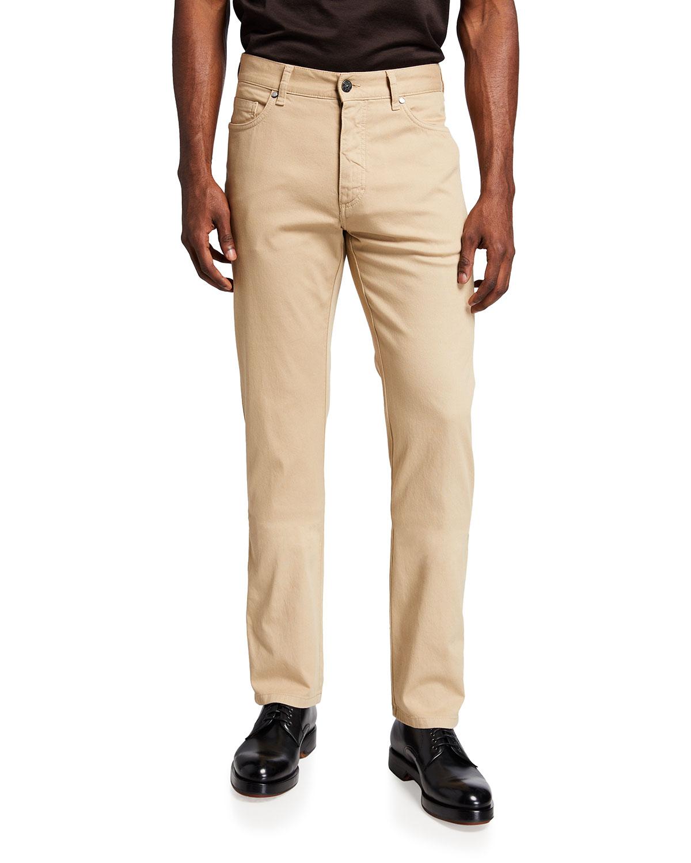 Men's Regular-Fit Cotton Canvas Straight-Leg Pants