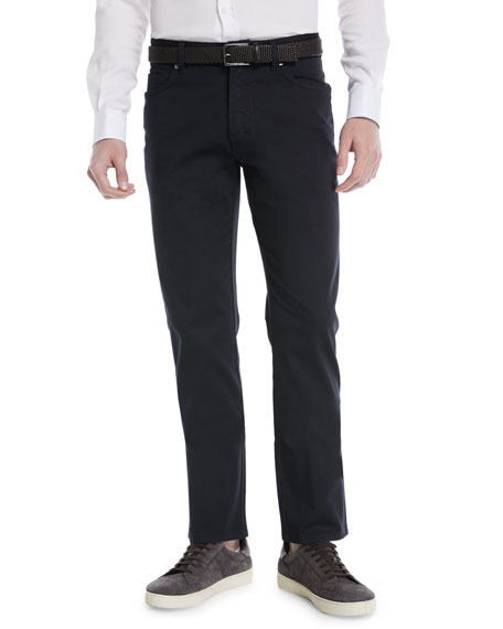 Ermenegildo Zegna Cotton Canvas Regular-Fit Chino Pants, Navy