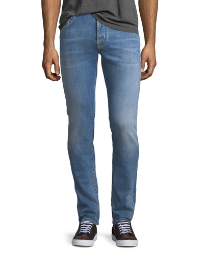 Light-Wash Straight-Leg Jeans