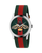Bee-Embroidered Nylon Web Watch