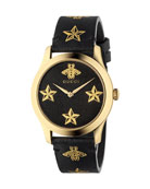 Bee-and-Star Leather Watch