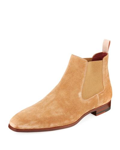 Men's Suede Low Gored Chelsea Boots, Light Brown