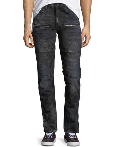 Distressed Stretch-Denim Moto Jeans