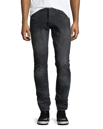 Dark-Wash Distressed Jeans