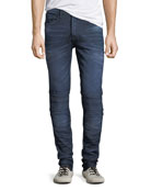 PRPS Dark-Wash Tapered Moto Jeans