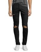 Distressed Stretch-Denim Jeans