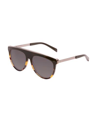 Flat-Top Aviator Sunglasses, Brown