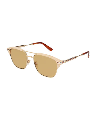 Retro Square Aviator Sunglasses, Gold