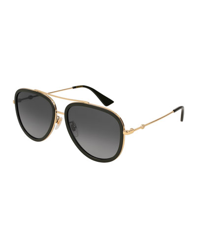 faffc9e065a Quick Look. Gucci · Polarized Rimmed Metal Pilot Sunglasses. Available in  Gold
