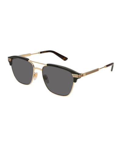 Retro Square Aviator Sunglasses, Gold/Black
