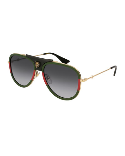 Enamel Metal Aviator Sunglasses