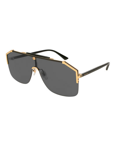 Geometric Metal Shield Sunglasses