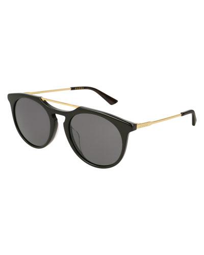 Round Acetate Pilot Sunglasses, Black