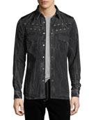 Givenchy Distressed Snap-Front Pocket Shirt