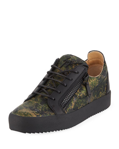 Men's Splatter-Print Leather Low-Top Leather Sneaker