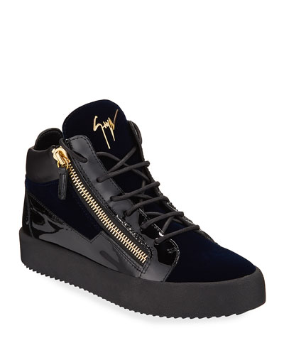 Men's Velvet & Patent Leather Mid-Top Sneakers