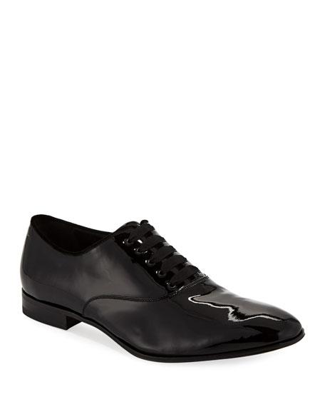 Salvatore Ferragamo Men's Belshaw Patent Lace-Up Balmoral Dress Shoe