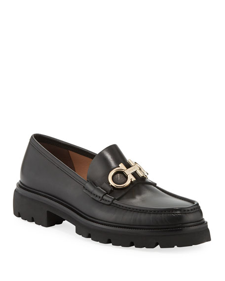Salvatore Ferragamo Men's Bleecker Leather Lug-Sole Loafers with Reversible Bit