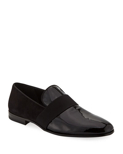Men's Bryden Patent Leather & Suede Slip-On Dress Loafer Shoe