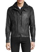 Hooded Zip-Front Moto Jacket, Black