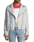 Waxed Suede Moto Jacket