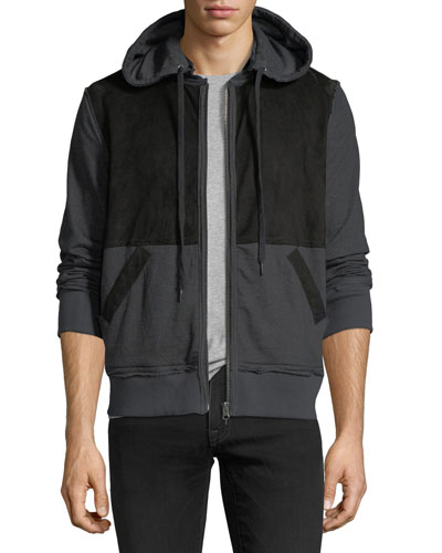 Suede-Panel Zip-Front Knit Hoodie