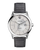 44mm Aiakos Men's Automatic Watch with Gray Leather Strap