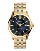 44mm Aiakos Men's Automatic Watch with Bracelet, Blue
