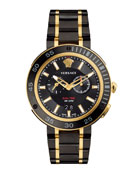 V-Extreme Pro Multifunction Dual Time Watch with Bracelet, Black