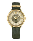 42mm Manifesto Watch with Green Leather Strap