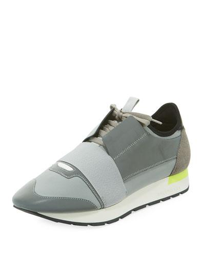 Men's Reflective Race Runner Mesh & Leather Sneakers, Gray