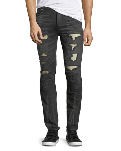 Distressed Slim-Straight Jeans with Metallo Backing
