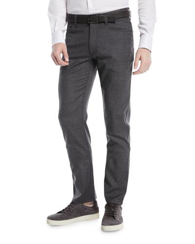 Textured Wool-Blend 5-Pocket Pants