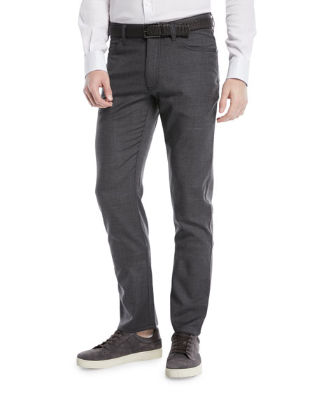 Ermenegildo Zegna Regular-Fit Textured Wool-Blend 5-Pocket Pants