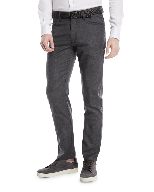 Regular-Fit Textured Wool-Blend 5-Pocket Pants