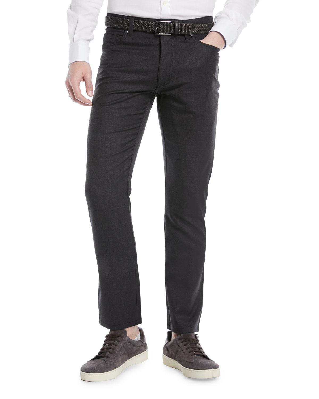 Wool-Stretch 5-Pocket Regular-Fit Pants