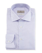 Impeccabile Textured Check-Print Dress Shirt, Purple