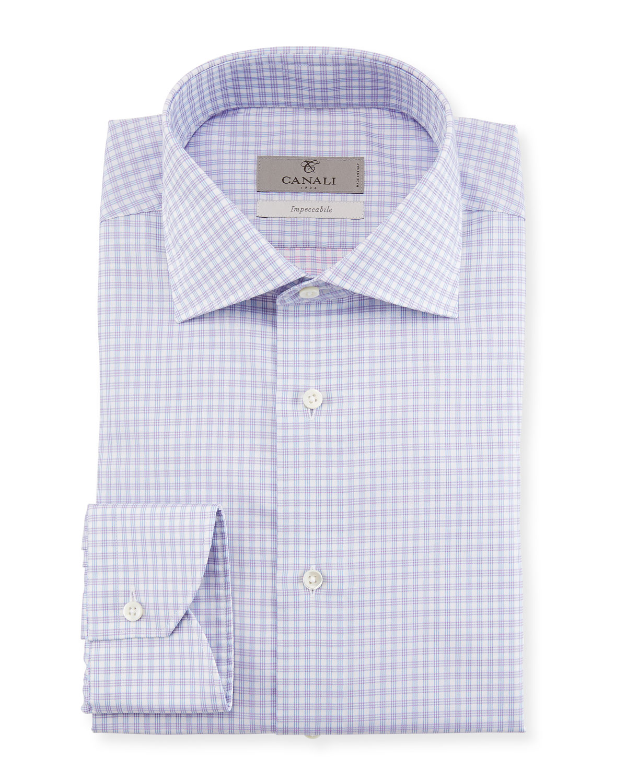 Impeccabile Textured Check-Print Dress Shirt, Purple