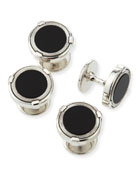 Latch Silver Shirt Studs with Onyx